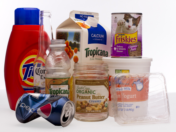 Glass Metal Plastic containers