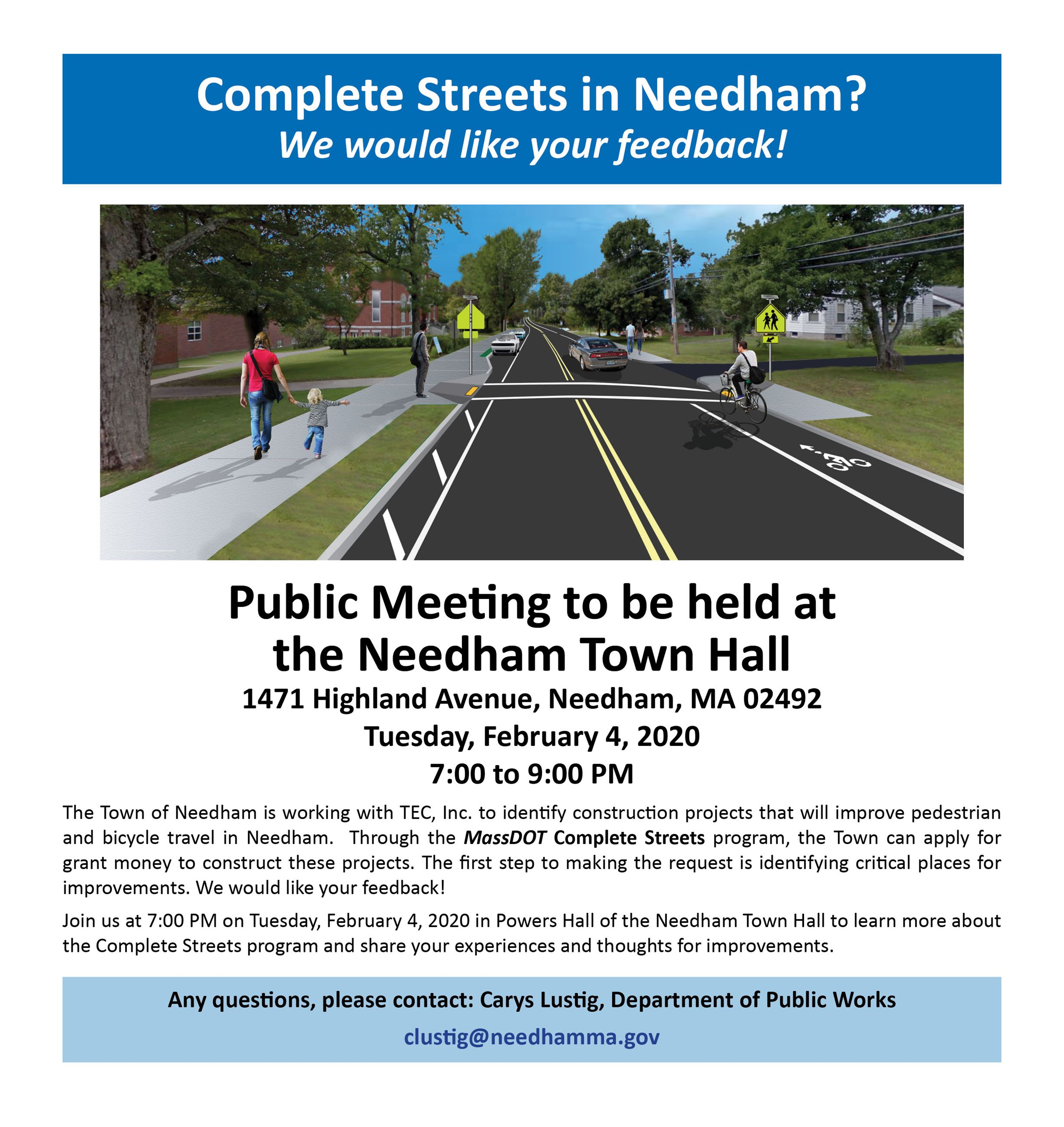 Needham Complete Streets Public Meeting Notice